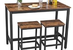 Stolik barowy + 2 taborety. Styl industrialny, rustykalny, loft.
