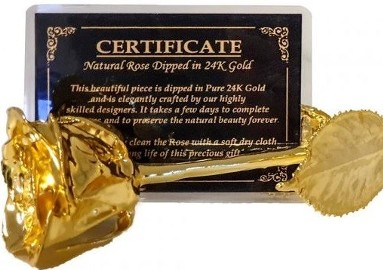 złota róża + certyfikat