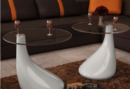vidaXL 2 białe stoliki z okrągłym, szklanym blatem, wysoki połysk240322