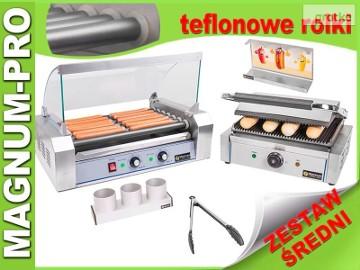 Średni zestaw do HOT-DOGÓW podgrzewacz + grill + akcesoria, teflon
