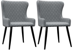 vidaXL Krzesła jadalniane, 2 szt., jasnoszare, tapicerowane tkaniną282515