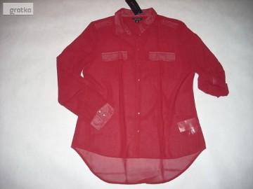 AMISU Koszula Czerwone Wino roll up Pagony NOWA 42 XL