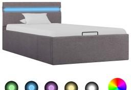 vidaXL Rama łóżka z podnośnikiem i LED, taupe, tkanina, 90 x 200 cm285624
