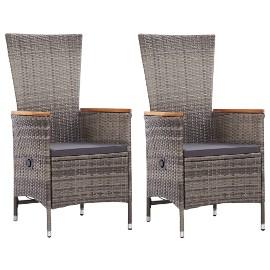vidaXL Krzesła ogrodowe z poduszkami, 2 szt., polirattanowe, szare 46064