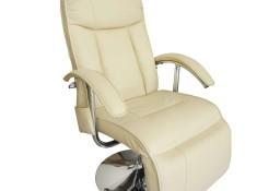 vidaXL Fotel masujący, biały, sztuczna skóra240065