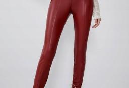 (38/M) ZARA/ Czerwone, skórzane spodnie, legginsy, rurki z Madrytu/ NOWE