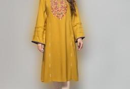 Nowa sukienka tunika indyjska M 38 L 40 oliwkowa haft wiskoza boho hippie Bollywood kameez kurta