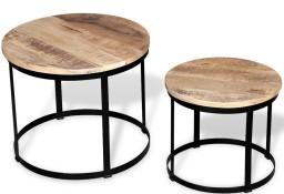 vidaXL Dwa stoliki kawowe z surowego drewna mango, okrągłe 40 i 50 cm244006