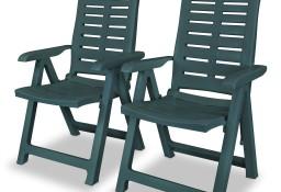 vidaXL Rozkładane krzesła ogrodowe, 2 szt., plastikowe, zielone 43896