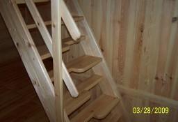 SCHODY KACZE na wysokość 320cm szer.60cm ażurowe młynarskie drewniane z BARIERKĄ