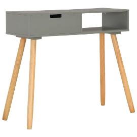 vidaXL Stolik konsola, szary, 80 x 30 x 72 cm, lite drewno sosnowe 285218