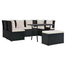 vidaXL 8-cz. zestaw mebli ogrodowych z poduszkami, rattan PE, czarny 44702