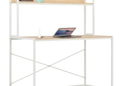 vidaXL Biurko komputerowe, białe i dębowe, 120 x 60 x 138 cm20255