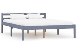 vidaXL Rama łóżka, szara, lite drewno sosnowe, 120 x 200 cm 283198