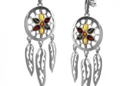 Kolczyki srebrne ŁAPACZ SNÓW z kolorowym bursztynem