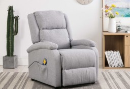 vidaXL Rozkładany fotel masujący, jasnoszary, tkanina248698