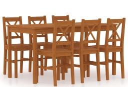vidaXL 7-częściowy zestaw mebli do jadalni, drewno sosny, miodowy brąz283374