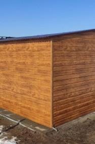 Garaż blaszany dwuspadowy drewnopodobny 5x5 złoty dąb poziomy trapez-2