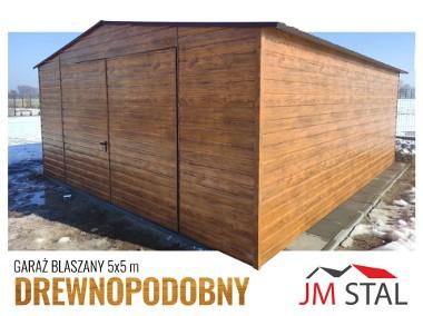 Garaż blaszany dwuspadowy drewnopodobny 5x5 złoty dąb poziomy trapez-1
