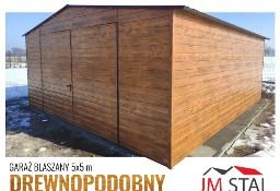 Garaż blaszany dwuspadowy drewnopodobny 5x5 złoty dąb poziomy trapez