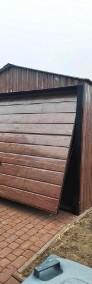Garaż blaszany dwuspadowy drewnopodobny 5x5 złoty dąb poziomy trapez-3