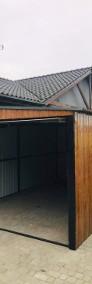 Garaż blaszany dwuspadowy drewnopodobny 5x5 złoty dąb poziomy trapez-4
