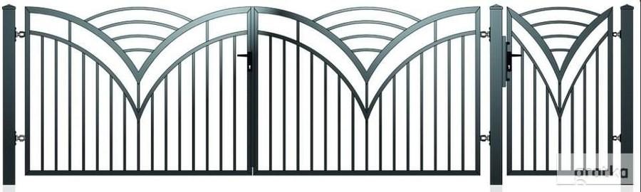 Brama dwuskrzydłowowa1,5x4m + furtka 1x1,5m D-14 oc+kolor