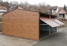 Garaż blaszany 6x6m, dwa stanowiska, dach dwuspadowy
