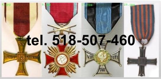 Kupie sare ordery, medale,odznaki,odznaczenia tel.518-507-560