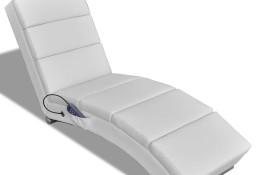 vidaXL Rozkładany fotel masujący, biały, sztuczna skóra240969