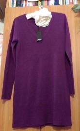 (36) Firmowa, śliwkowa, dzianinowa sukienka ołówkowa na zimę z Londynu/ NOWA z metką