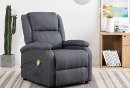 vidaXL Rozkładany fotel masujący, ciemnoszary, tkanina 248699