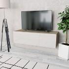vidaXL Szafka pod TV, 120x40x34cm, kolor dębowy i biały, wysoki połysk244871