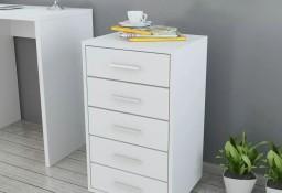 vidaXL Szafka biurowa z kółkami i 5 szufladami, w kolorze białym243064