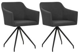 vidaXL Obrotowe krzesła stołowe, 2 szt., ciemnoszare, tkanina247065