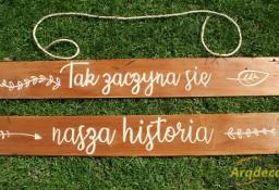 Deski rustykalne - komplet z napisem Tak zaczyna się nasza historia, ślub, wesele, dekoracje