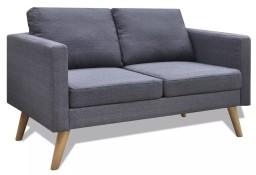 vidaXL Sofa 2-osobowa, materiałowa, ciemnoszara 242220