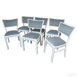Białe krzesła z lat 30 XX wieku, po renowacji, 6 krzeseł, dostawa.