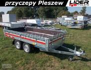 TM-241 przyczepa 304x153x30cm, Transporter 3015/2, uniwersalna, lekka,platforma, burty wypełnione sklejką, DMC 750kg