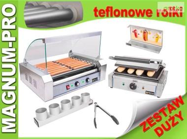 Duży zestaw do hot-dogów grill+ podgrzewacz + akcesoria teflon-1