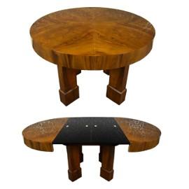 Okrągły rozkładany stół art deco lata 30 antyk stary po renowacji