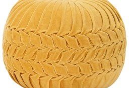 vidaXL Puf, aksamit bawełniany, marszczony, 40 x 30 cm, żółty284035