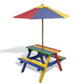 vidaXL Stół dla dzieci z ławkami i parasolem, wielokolorowy, drewniany 40773