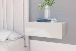 vidaXL Wisząca szafka nocna, biała, wysoki połysk, 40x30x15 cm 800318