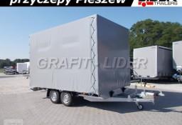 LT-051 przyczepa + plandeka 410x245x240cm, spedycyjna przyczepa ciężarowa, okuta na ramie, DMC 3000kg