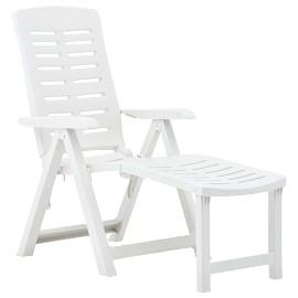 vidaXL Składany leżak, plastikowy, biały48757