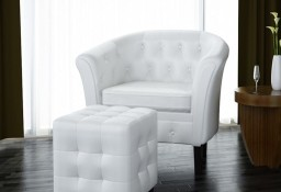 vidaXL Fotel z podnóżkiem, biały, sztuczna skóra 60711