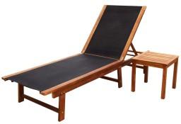 vidaXL Leżak ze stolikiem, lite drewno akacjowe i tkanina textilene41746
