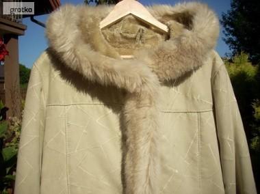 PIĘKNY kożuch ciepły płaszcz kaptur j NOWY 40 42 L XL-1