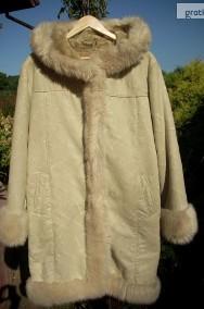 PIĘKNY kożuch ciepły płaszcz kaptur j NOWY 40 42 L XL-2